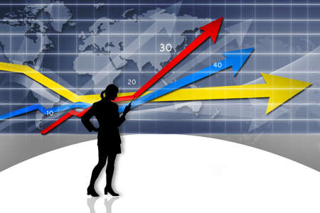 Business Graph, 3d rendered conceptual arrow chart and business girl  photo