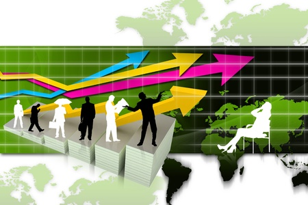 shareholder: Business people with a graph representing in growth of business  Stock Photo