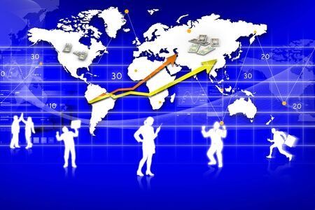 Business Graph, rendered conceptual arrow chart and business people Stock Photo - 9145000