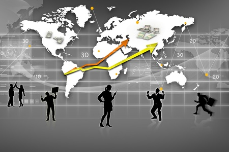 Business Graph, rendered conceptual arrow chart and business people photo