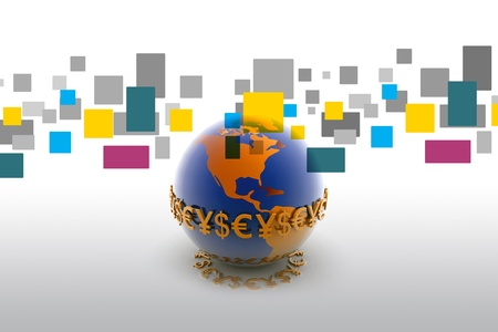 Bank Światowy: 3D ilustracji świata i waluty w tle abstrakcyjna   Zdjęcie Seryjne