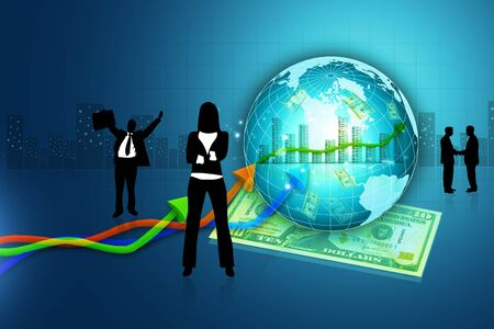 Digital concept of Business people with globe and dollar photo