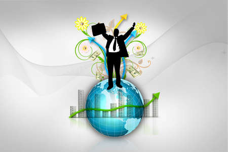 Digital concept of Business man with globe and graph  photo