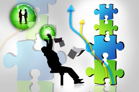 Business concept of man and puzzles  photo