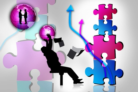 Business concept of man and puzzles Stock Photo - 9121678