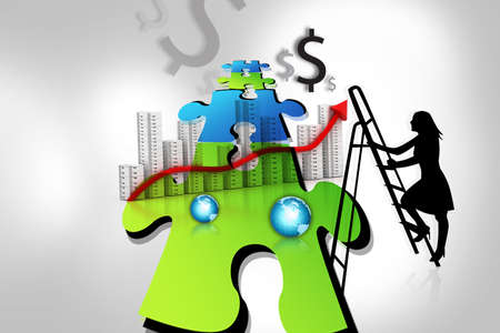 Business concept of lady and puzzles  photo