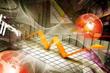 share market: Digital illustration of growth concept in abstract background  Stock Photo