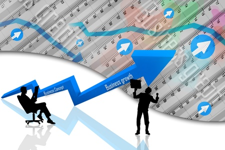Business Graph, 3d rendered conceptual arrow chart and business people photo
