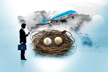 Two earths in being protected in a nest. With business man  photo