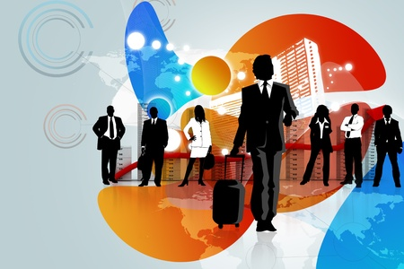 Business people in abstract background  photo