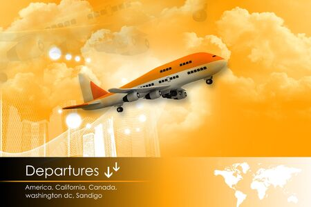 depart: airplane is flying in the sky with a departure list
