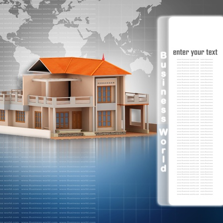3d house in abstract background  photo