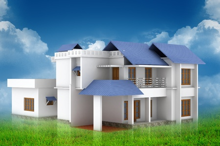 3d house in abstract background. This is detailed 3D render.  photo