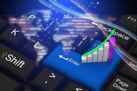 Business graph on keyboard   photo