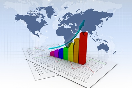 Business graph in abstract background  photo