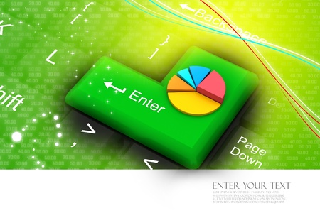 Colorful Pie Chart On Enter Key Stock Photo Picture And Royalty