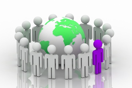 3d rendering of people around the globe concept Stock Photo - 9206524