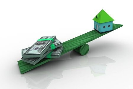 3d rendering  of house and money on scale board, over white background Stock Photo - 9216306