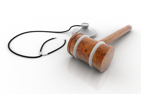 psychical: hammer and stethoscope isolated on white Stock Photo