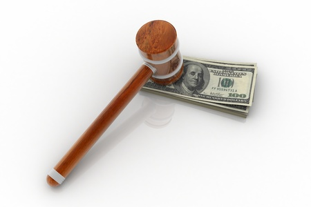 arbitrator: 3d rendering of hammer and dollar  Stock Photo