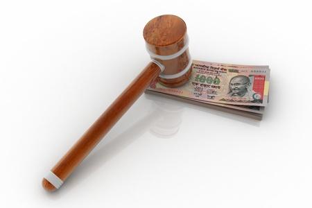 arbitrator: 3D rendering di martello e rupia indiana  Archivio Fotografico