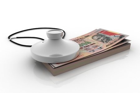 arbitrator: Indian rupee and stethoscope isolated on white