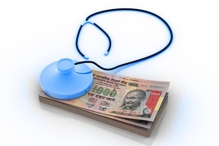 arbitrator: Indiano rupia e stetoscopio isolata on white