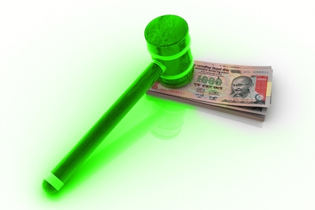 arbitrator: 3d rendering of hammer and Indian rupee