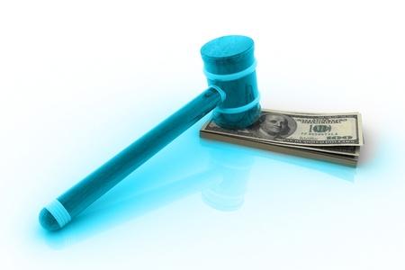 arbitrator: 3D rendering di martello e dollaro