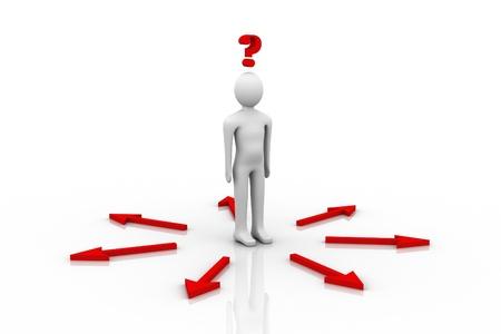 혼란스러운: 3d person and question mark in white background