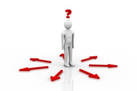 persona confundida: signo de interrogaci�n en fondo blanco y persona 3D Foto de archivo