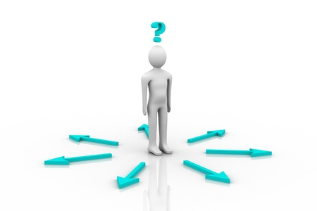 3d person and question mark in white background  photo