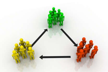 input: 3D rendered Illustration of people network in spectrum colors symbolizing variety of input  Stock Photo