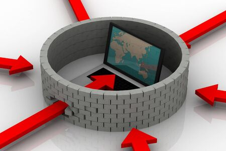 Protected global network the Internet. 3D image. Stock Photo - 9206444