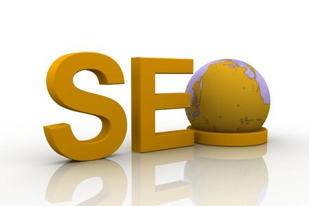 3d illustration of text SEO with earth globe, search engine optimization symbol illustration