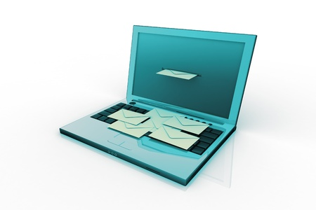 consignor: laptop and mail (done in 3d, isolated)  Stock Photo