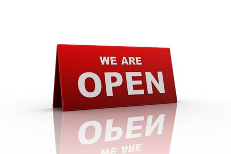 opening hours: we are open sign in white background Stock Photo