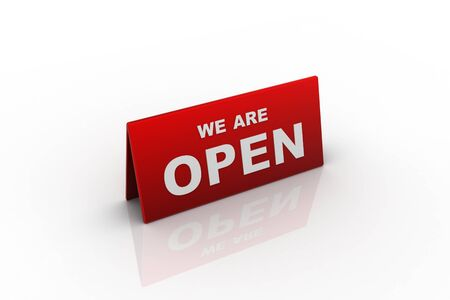 we: we are open sign in white background Stock Photo