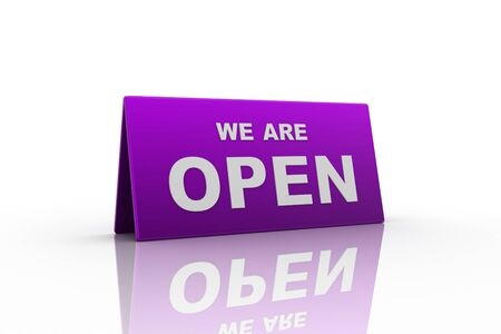 we are open sign in white background Stock Photo - 9237741