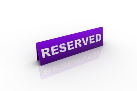 reserved sign: Table illustration Reserved Sign isolated over a white background.