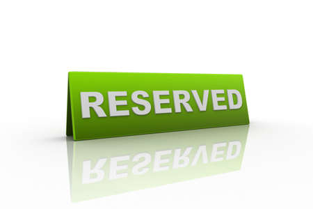 reserved: Table illustration Reserved Sign isolated over a white background.