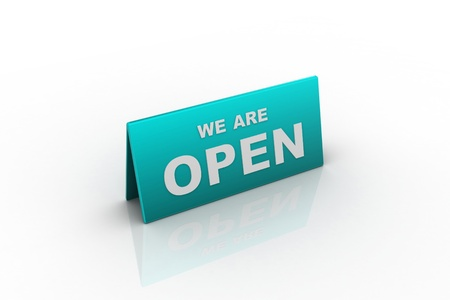sign in: we are open sign in white background Stock Photo