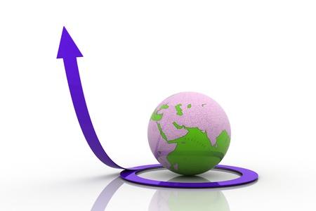 3d globe around Circle arrow going up on white background photo