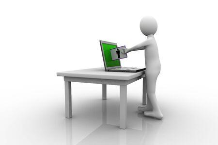 Laptop and man, communication concept photo