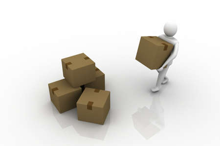 3d Man carrying cardboard box, isolated Stock Photo - 9237765