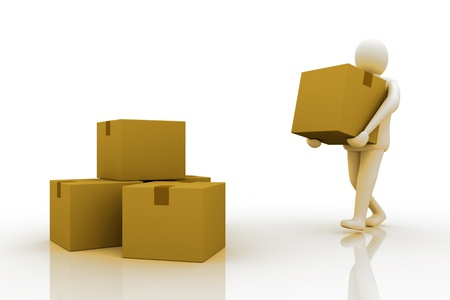 3d Man carrying cardboard box, isolated  photo