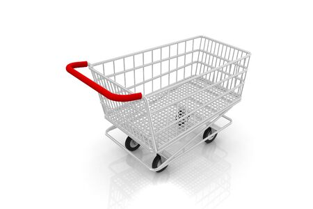 Empty shopping cart on a white background. Stock Photo - 9242911