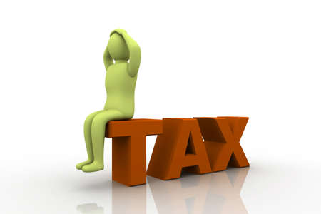 despondent: Taxpayer ruined bankrupt by high taxes sits in the word TAX