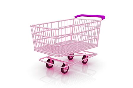 empty shopping cart: Empty shopping cart on a white background.  Stock Photo
