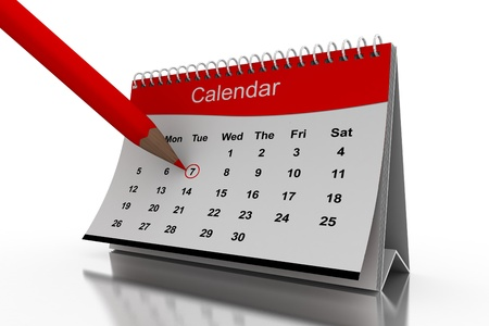 3D desktop calendar in white background photo